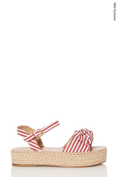 Red Stripe Bow Hessian Flatform